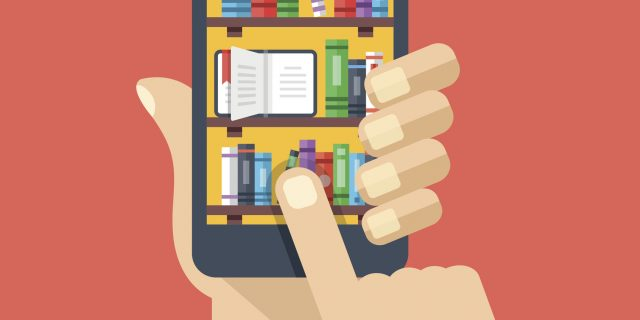 Bookshelves, books on smartphone screen. Online digital library. Flat illustration